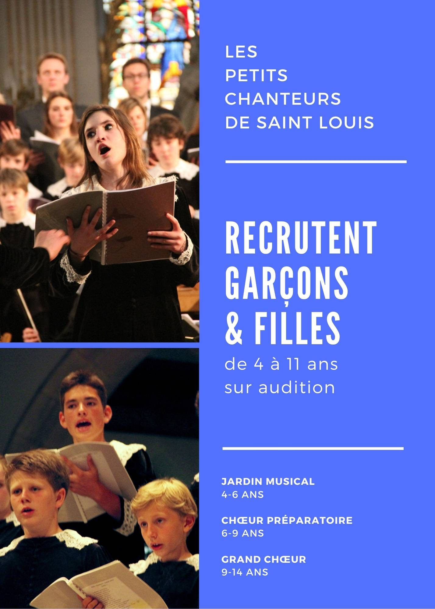 Recrutement chorale enfants paris petit chanteur de saint louis chant audition